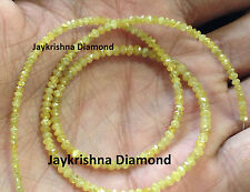 """15 ct 16"""" natural loose yellow color round diamond faceted beads strand necklace"""