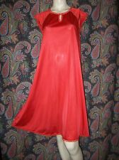 Vintage Vanity Fair Red Nylon Smock Babydoll Nighty Nightgown Lingerie S