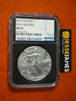 2017 $1 AMERICAN SILVER EAGLE NGC MS70 EARLY RELEASES LABEL BLACK CORE HOLDER
