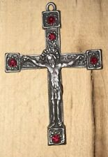 Kreuz mit Jesus, Zinn mit farbigen Steinchen, Schmuckstück, Anhänger, Kommunion