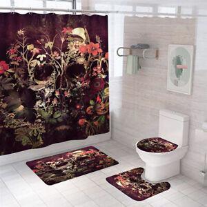 Floral Skull Shower Curtain Bathroom Rug Set Bath Mat Non-Slip Toilet Lid Cover