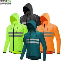 Mens Cycling Hooded Jacket High Visibility Waterproof Running Rain Coat Tops