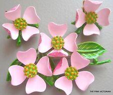 PRETTY PINK vintage METAL enamel DOGWOOD blooms FLOWER pin & clip EARRINGS PK-3