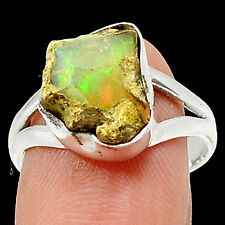 Ethiopian Opal Rough 925 Sterling Silver Ring Jewelry s.8 RR49965