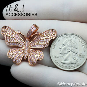 WOMEN 925 STERLING SILVER ICY PINK DIAMOND ROSE GOLD 3D BUTTERFLY PENDANT*ARG284