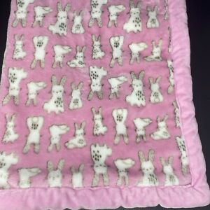 A D Sutton Pink with White Bunnies Rabbits Baby Blanket Thick Velour Lovey 28x38