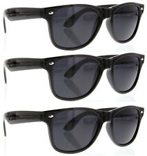 3 Pairs BLACK SUPER DARK SUNGLASSES dark lens Lot new classic for Men & Women