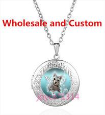 Angel Cat Cabochon Tibetan silver Glass Locket Pendant Necklace HZ-6184