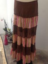 LARA ETHNICS jupe longue voile coton ample volants marron doublée  T 42