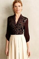 $98 Anthropologie Tiny Leighton Brown Velvet Sequined Top Size Small