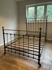 More details for stunning country chic cast iron and brass small double bed