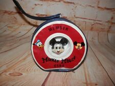 Vintage Mickey Mouse Club Member Round Vinyl Coin Purse 3D Head Zipper Case 2575