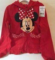 Disney Minnie Mouse Jacket Girls 4 Polka Dot Zip Jacket New
