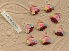 PLASTIC VINTAGE Easter FLOWER BASKETS CHARMS PENDANTS HAND PAINTED Japan 4OLIVIA