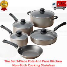 The Cookware Set 9 Piece Pots Pans Lids Home Kitchen Nonstick Cooking, Champagne