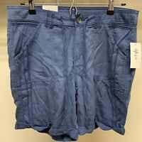 Womens Style&co Casual Mid Rise Blue Shorts Cuffed Pockets Size 10 Front Tie NWT