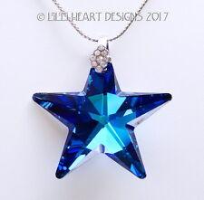 m/w Swarovski RARE 40mm STAR Cobalt Dk. Blue CZ Bail + Chain Lilli Heart Designs