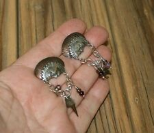 Goddess Moon Face Tabra Post Earrings Garnets Amethyst Mixed Metals!