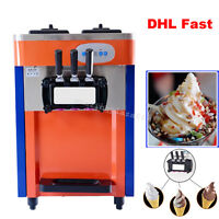 Commercial 3 Flavor Soft Ice Cream Machine  Ice Cream Cones Maker Make 3 color