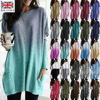 Plus Size Women Baggy Sweater Pullover Long Tops Ladies Pocket Jumper Mini Dress