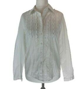 Womens Boden white circle applique button front cotton blouse UK Size 10 EXC CON