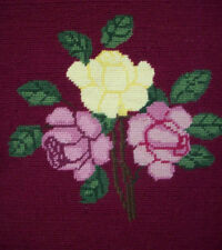 Mackintosh arts and craft style roses completed needlepoint canvas