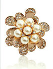 ITALINA 18K ROSE GOLD PLATED AND GENUINE AUSTRIAN CRYSTAL & WHITE PEARL BROOCH