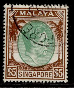 SINGAPORE GVI SG30, $5 green & brown, FINE USED.