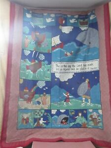 Vintage Handmade Baby Blanket Wall Hanging Throw Bible Stories