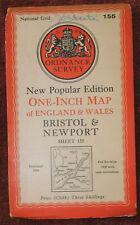 "ORDNANCE SURVEY NEW POPULAR EDITION 1"" LINEN BACKED MAP - BRISTOL & NEWPORT 1946"