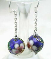 SALE Big 12mm Blue Cloisonne Round Beads dangle earring hook silver s925-ear212
