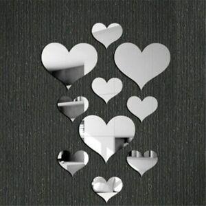 10pcs 3D Mirrors Love Heart Wall Stickers Kids Room Decal Wall Art Home Decor