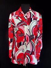 Raro Vintage Francés 597ms rojo y Blanco Poliéster Vivo MOD Blusa Estampado