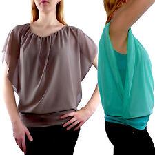 Damenblusen, - tops & -shirts mit Carmen-Ausschnitt aus Chiffon ohne Muster
