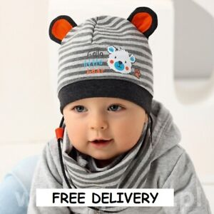2pcs set BEANIE Rich cotton boys hat with scarf bandana BABY BOY 6-18 months
