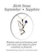 Angelys September Sapphire Birthstone Fairy Pendant Necklace Birthday Xmas Gift