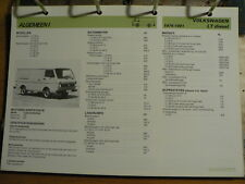 VOLKSWAGEN VW LT DIESEL 1975-81 INFO TECHNICAL INFORMATION CAR AUTO OLY135