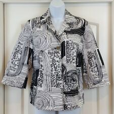 Chico's Black & White Artsy Embroidered 3/4 Slve Button Front Sz 1 (6-8) Jacket