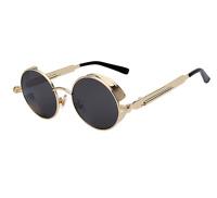 Vintage Steampunk John Lennon Sunglasses Hippie Retro Round Gold Black Glasses
