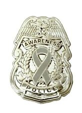 Security Sheriff Cop Cancer Causes New Gray Awareness Ribbon Pin Police Badge