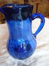 zwiesler, blauer, mundgeblasener, optisch gedrehter Glaskrug , Top Zustand, um