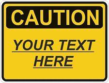 1x CAUTION Personalised Custom WARNING VINYL STICKER