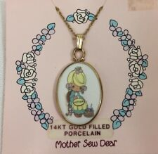"""Precious moments 14Kt gold filled Porcelain """"Mother Sew Dear"""" 1991 necklace"""