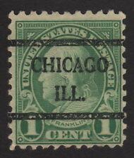 1923 US, 1c stamp, Used, Benjamin Franklin, Sc 581, Chicago precancel
