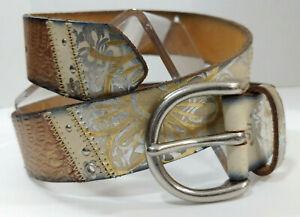 FOSSIL Leather Belt Crazy Quilt Patchwork Metallic Silver Gold Bronze Women Sm