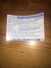 1986 Toyota Pickup Truck/4runner Emissions Info Decal Repro Sticker Fed 22re #75