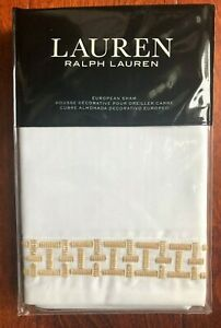 LAUREN RALPH LAUREN Spencer EURO SHAM Embroidered COTTON SATEEN Wheat $150 NWT