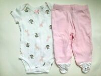 Girl's Size 6M 3-6 Months 2 Pc Carter's White Monkey & Owl Top, Cat Footed Pants