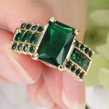 Stunning Princess Cut Green Emerald Wedding Ring Gold Rhodium Plated Size 7