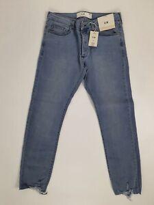 Topman Blue Misty Raw Distressed Hem Slim Fit 32R W32 L32 Skinny Jeans BNWT